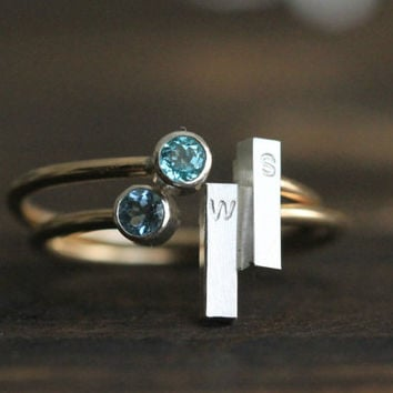 Genuine Birthstone Custom Initial Ring- Silver &14K GF Adjustable Stacking Ring w Blue Sapphire Birthstone and Silver bar By Pale Fish NY
