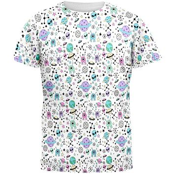 Outer Space Aliens Pattern All Over Mens T Shirt