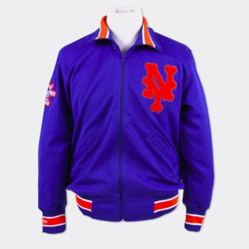 ONETOW New York Mets 1986 Authentic BP Jacket Mitchell & Ness