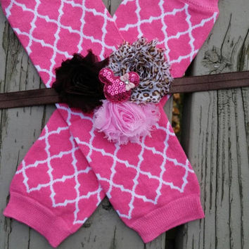 Minnie Mouse Leopard Print Hot Pink Headband -  Leg Warmers -  Quatrefoil -  Birthday Set -  Christmas -  Gift -  Baby -  Photos - Disney