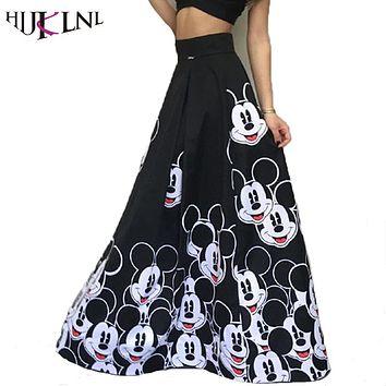 HIJKLNL Woman Vintage Cartoon Print High Waist Long Skirts 2017 Fashion Femme Party Pleated Beach Maxi Skirt faldas mujer NA041