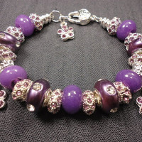 Purple Chalcedony Royal Deep Purple Jewel European Charm Bracelet