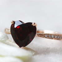 14K Rose Gold 8mm Heart Garnet Ring Red Colored Stone Ring Gemstone Wedding  Engagement Ring Birth Stone Ring Promise Ring