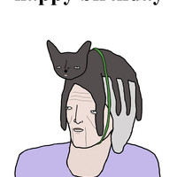Pictures That I Gone And Done — Old lady with a cat on her head birthday card
