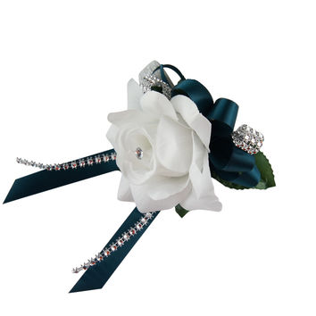 Wrist corsage - White Open Rose with Gem Teal Ribbon - Artificial