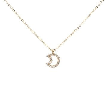 CZ Open Crescent Moon Necklace