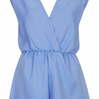 **Cornflower Blue Wrap Over Playsuit by Rare