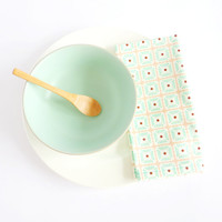 Cotton Napkin in White, Mint and Pink Squares and Dots. Set of Two. Set of 2. Scandinavian design. Spring Summer.