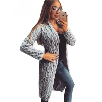 Knit Crochet Twisted Open Stitch Cute Women Long Cardigan Ladies Sweater