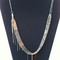 """Shimmering Black and Copper Woven Necklace 28"""""""