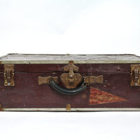 Vintage Suitcase / Vintage Metal Trunk / Old Luggage