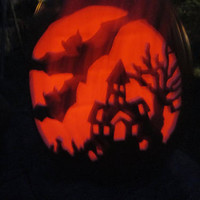 "Carved Jack O Lantern Haunted House Cemetery Large Halloween Pumpkin w Flicker Tea Light  Hand Carved 13"" Foam Home Cabin Office Decor"