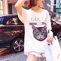 GUCCI Fashion Women Personality Loose Sequin Cat Embroidery Round Collar Pullover Top T-Shirt Blouse