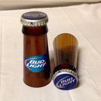 Beer Bottle Shot Glasses. Recycled Glass Bottles. Man Cave. For Him.