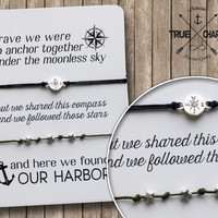 couples jewelry - nautical - card with bracelet - love gift - his and hers - compass - stars- anchor - wedding - shower
