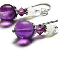 Fluorite and Swarovski Earrings, Surgical Steel Earrings, Purple Earrings
