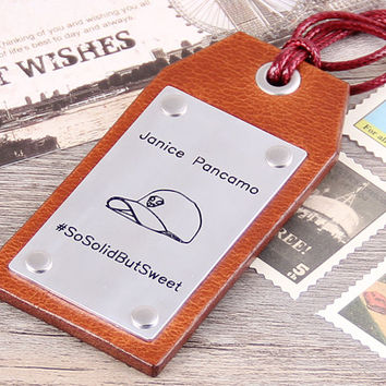 Travel Leather Luggage Tag-Custom Leather Tag-Personalized Luggage Tag-Customizable Cap Luggage Tag