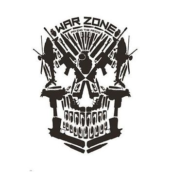 WAR ZONE poster SKULL made of WEAPONS political sinister statement 24X36 HOT