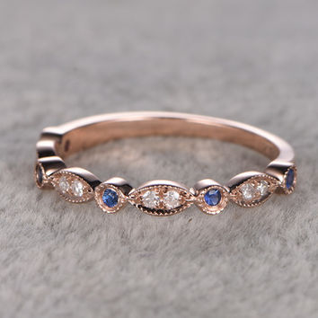 Sapphire and Diamond Wedding Rings 14k Rose Gold Antique Art Deco Half Eternity Band Annivery Ring