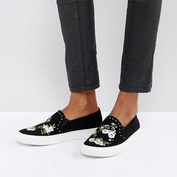 Miss Selfridge Embroidered Trainer at asos.com