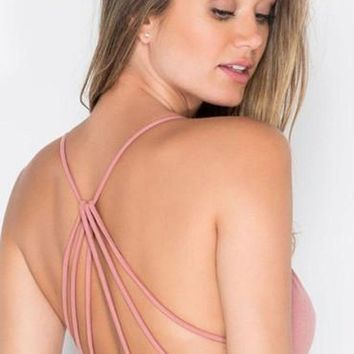Sun Goddess Strappy Back Bra - Dusty Rose