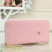 Women Fashion New Floral Rhombus Leather Leisure Wallet Handbag Purse Pink