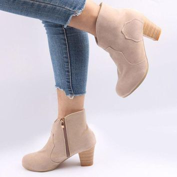 Suede Side Zipper With Ankle Boots