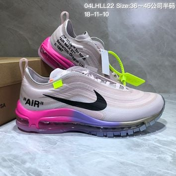 DCCK N816 Serena Williams Off White Nike Air Max 97 Running Shoes Grey Red Purple