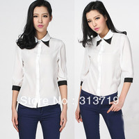 Free Shipping Women Double layer Collar chiffon half Sleeve Contrast color Shirt Tops Blouse DropShipping CY0486