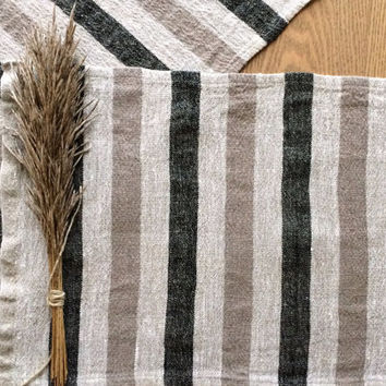 Placemats Set, Linen Placemats, Burlap Placemats, Antique Style Linen mats, Dark Gray Beige stripe placemats, Table Mat, Dining Place Mats
