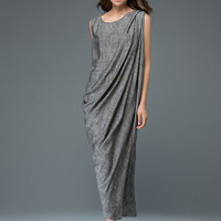 Gray linen dress women's dress (C923)