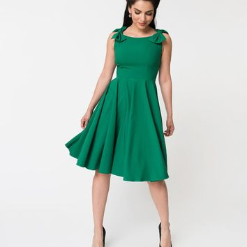 Vintage Diva Emerald Green Charlie Bow Detailed Sleeveless Swing Dress