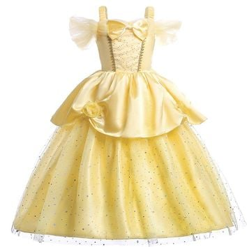 Beauty and The Beast Belle Dress Cosplay Carnival Festival Kids Girl Princess Dress for Christmas Halloween Vestido Cloth Yellow