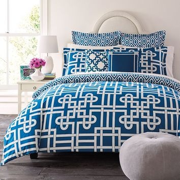 Happy Chic by Jonathan Adler Samantha 3-pc. Reversible Duvet Cover Set (Blue)