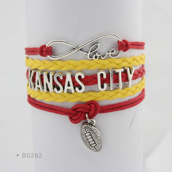 Infinity Love Football Bracelet - Kansas City Football