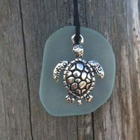 Pale Aqua Sea Glass Turle Necklace by WaveofLife