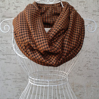 Houndstooth Patterned Loop scarf,Plaid Scarves,Infinity scarf