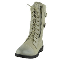 Womens Mid Calf Boots Canvas Lace Up and Zipper Casual Comfort Shoes Beige SZ
