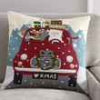 ROAD TRIP SANTA CREWEL EMBROIDERED PILLOW COVER