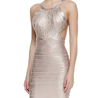 Metallic Pink Serena Cutout Waist Dress