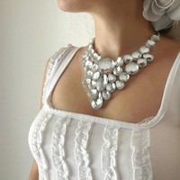 bib rhinestone clear white rhinestone romantic bib necklace bridal bridesmaid party prom gift or everyday unique necklace