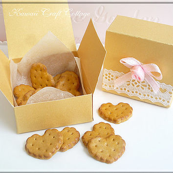 Miniatures, Biscuits, Biscuit, Cookies, Cookie, Doll, Fake, Food, Faux, Heart, Love, Pastry, Bakery, Blythe, Mini, BJD, Gift, Box, Set