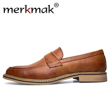 Merkmak Handmade Italian Style Men Dress Loafers Microfiber Leather Formal Business Oxfords Shoes Men's Flats for Party
