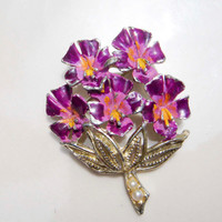 Vintage Purple Flower Bunch Brooch