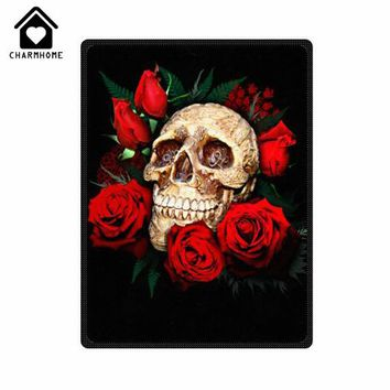 Skull Flower Bones Pattern 150x200cm Flannel Fleece Blanket Sofa Bed Kid Adult Warm Throw Blanket
