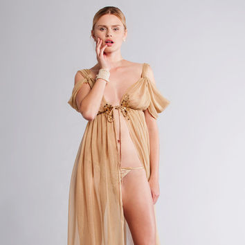 Etsy sleepwear Sale, GOLDIE Silk Chiffon Grecian Long Gown - Bridal gold night gown