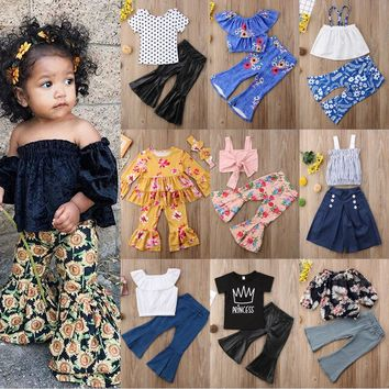 Flared Pants Outfits Kid Baby Girl Top Vest Mini Dress+Loose Leg 98f75a6806