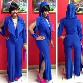 Blue Plain Cut Out Cowl Neck Slit Hooded Wide Leg Long Jumpsuit