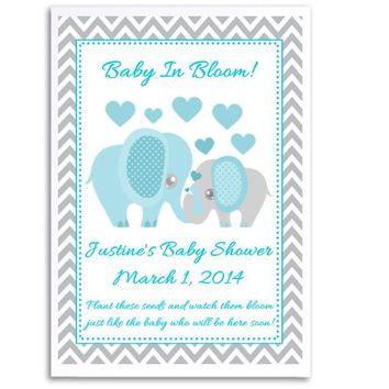 8 Blue Elephant Baby Shower Seed Favors
