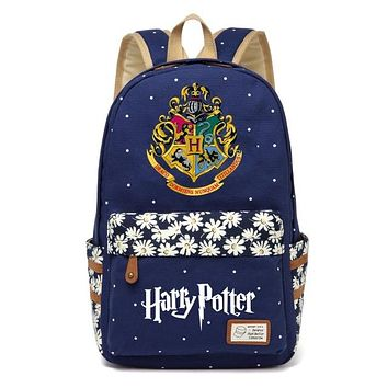Girls bookbag WISHOT Harry Potter Canvas bag Flowers wave point Rucksacks backpack Girls women Student School Bags travel Shoulder Bag bookbag AT_52_3